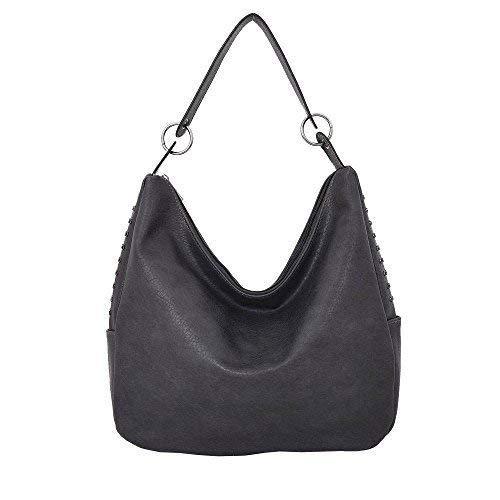 Haute For Diva Women Studded Hobo Bag Black Grey