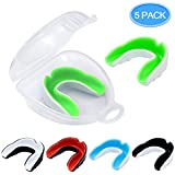 MENOLY 5 Pack Youth Mouth Guard Sports Mouth Guard for Kids Double Colored Kids for Football Basketball Boxing MMA Hockey with Free Case