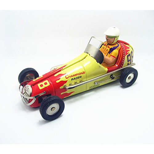 Vintage Car Racer Wind Up Tin Toy