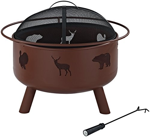 Crosley Furniture Durango Outdoor Fire Pit with Oversized Bowl and Steel Mesh Lid - Clay
