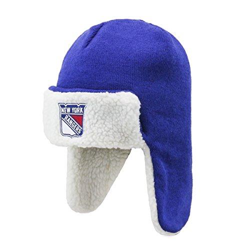 OTS NHL New York Rangers Breck Sherpa Hunter Knit Cap, Royal, One - Rangers Fan Hunter New York