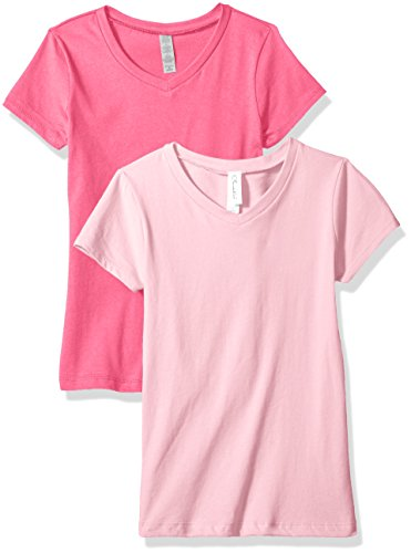 Clementine Unisex Baby Boy Everyday Short Sleeve Toddler T-Shirts Crew 2-Pack, White/Pink 4T