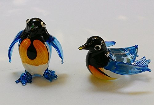 COLLECTIBLE MINIATURE HAND BLOWN Art GLASS Single Penguin Figurine Collection set 2 Pcs Best (Cat Ears Spirit Halloween)