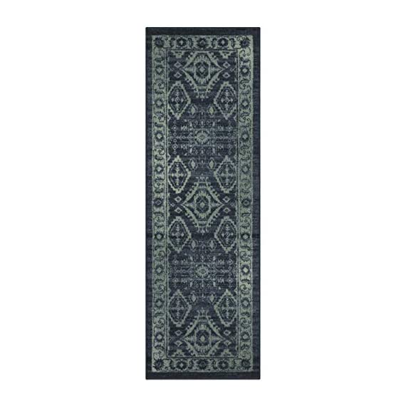 Maples Rugs Georgina Traditional Runner Rug Non Slip Hallway Entry Carpet [Made in USA], 2 x 6, Navy Blue/Green - 2 x 6 Hallway Runner Rug - Traditional Border style with rich, dual-colored design. An elegant and classic addition to different types of furniture and rooms. Timeless Design with 100% Nylon Pile for Added Durability and Fade Resistance 0.44 Inch Pile Height, Low Profile to be Placed in Any Setting. Easy Care and Machine Washable - runner-rugs, entryway-furniture-decor, entryway-laundry-room - 41GtF6dnQjL. SS570  -