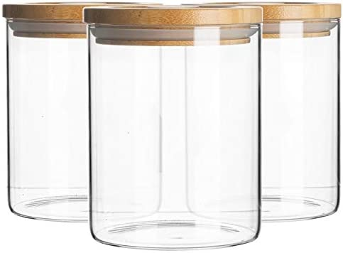 Argon Tableware 3 Piece Glass Jar With Wooden Lid Storage Container Set Round Scandinavian Style Airtight Canister 750ml Amazon Co Uk Kitchen Home