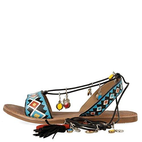 Gioseppo Haimi 40517-02 black sandali donna bassi neri e azzurri con ciondolini alla schiava