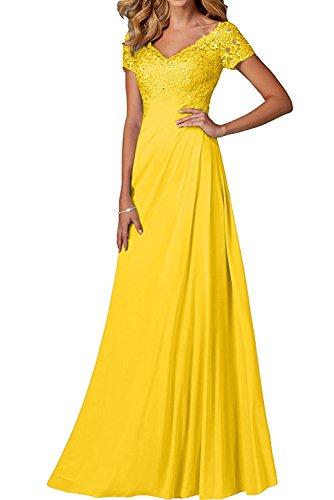 V Partykleider ausschnitt Spitze Charmant Dunkel Damen Kurzarm Brautmutterkleider Rock Gelb Abendkleider Festlichkleider A linie Lang qxCtpEw8ng