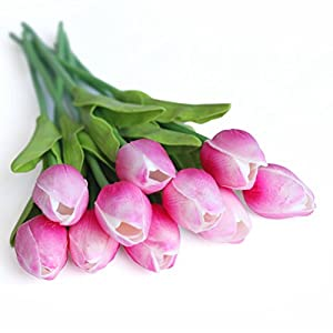 RERXN Artificial Flower Real Touch Mini Tulips Holland PU Tulip Bouquet Home Wedding Decor, Pack of 10 4