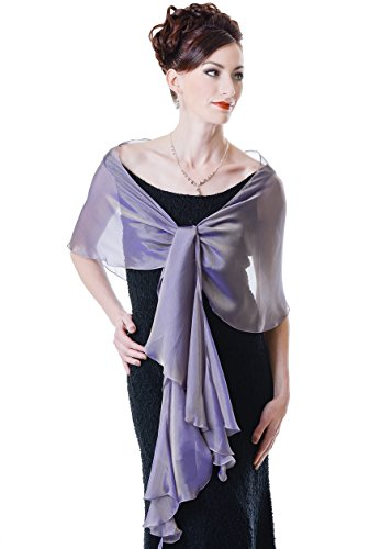 Lena Moro FLUTTERING SCARF Various Colors 100% Silk Two Tone Chiffon Evening Shawls (320 Lavender)