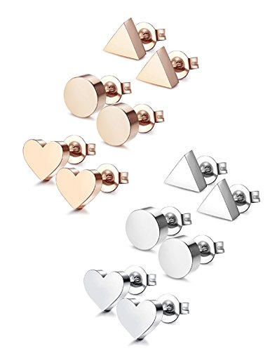 Udalyn 6 Pairs Stainless Steel Earrings Heart Earrings Round Triangle Stud Earring Set Silver-tone Rose Gold-tone (Tone Set Earring Stud)