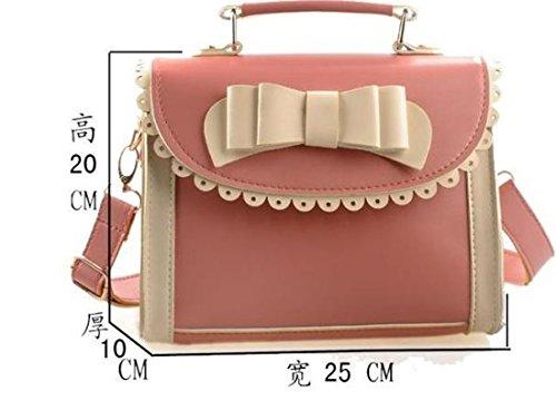 Green color Pink Yellow Pu Bow Orange Red Bag Red Beige Purple Tie Women Buckle Handbag Sweet Black Purple Brown Shoulder OwfqTWRP