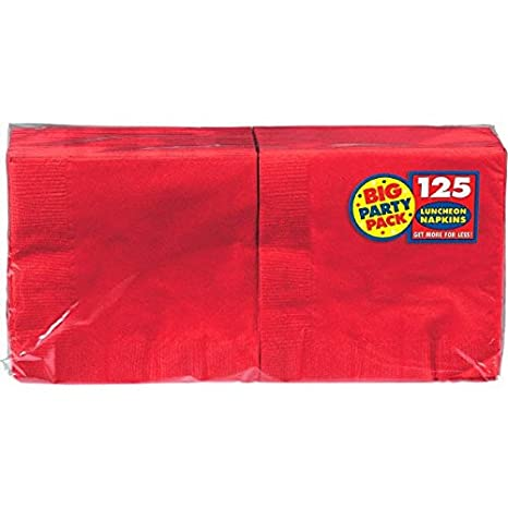 "Big Party Pack Luncheon Napkins 13""X13"" 125/Pkg-Apple Red"