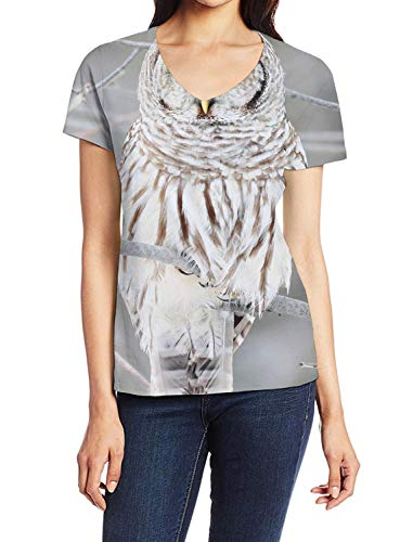 (Women's V-Neck Short Sleeve Blouse T Shirts Casual Tops White Cute Owl Perch On Tree)