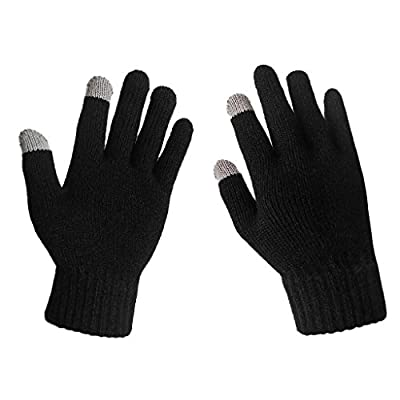 LETHMIK Men's Solid Magic Knit Gloves Winter Wool Lined with Touchscreen Fingers