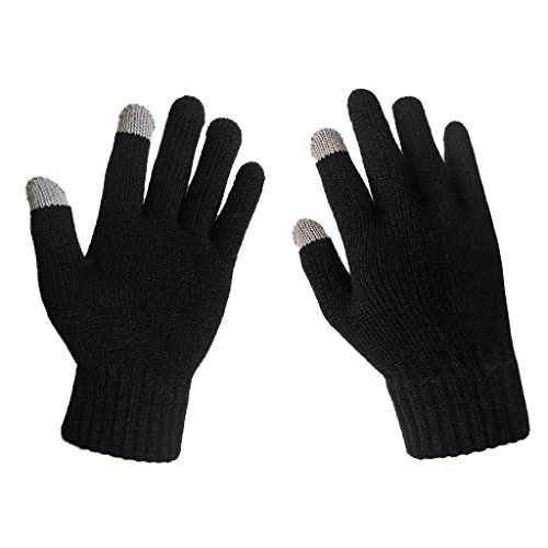 LETHMIK Men's Solid Magic Knit Gloves Winter Wool Lined with Touchscreen Fingers ,Black,One Size (Superior Elasticity)