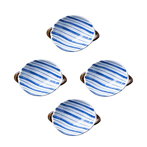 Colias Wing Hand-painted Flowers/Stripes Stylish Design Multipurpose Porcelain Side Dish Bowl Seasoning Dishes Soy Dipping Sauce Dishes with Handle-Set of 4-Blue&White