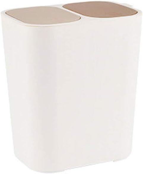 JIAAN Basura Cubo Basura Bote de Basura para el hogar,Papelera rect/ángulo de pl/ástico Doble con Botones Compartimiento de Reciclaje 12 litros Cubo de la Basura Cubo de la Basura Dos Piezas