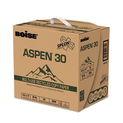 ASPEN 30% Recycled Multi-Use Paper, 92 Bright, 20lb, Letter, White, 2500/CT, Sold as 2500 Sheet