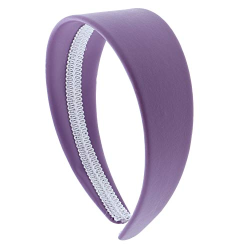 2 Inch Wide Leather Like Headband Solid Hair band for Women and Girls - Light Purple