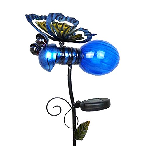 ReLIVE 37 Inch Metal Solar Powered LED Lightning Bug Garden Yard Stake Light (Blue)