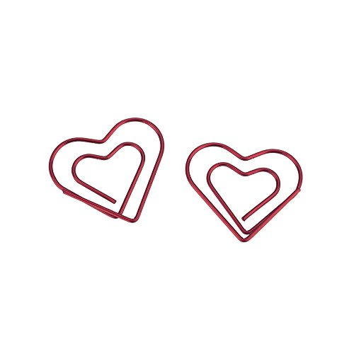 ((Price/100 Clips) Officeship Red Heart Shaped Paper Clips, 1 1/8