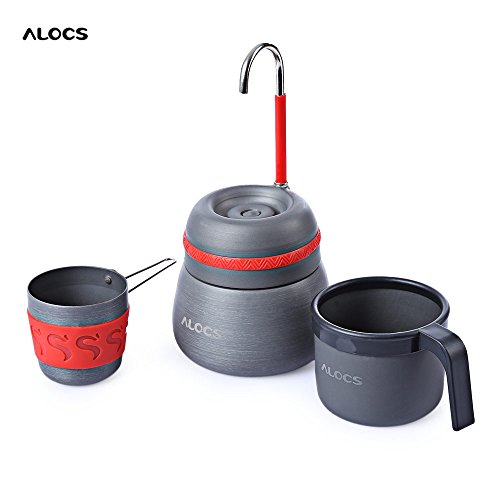 Gencorp JSC Outdoor coffee maker - Outdoor 350ml Portable Coffee Stove Aluminum Alloy Camping Hiking Gray Coffee Maker Pot With 2 Cups Coffee Tools
