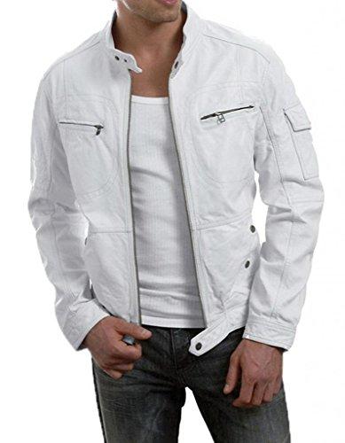 LeatherJacket4u Mens Leather Jacket 054 X-Large White