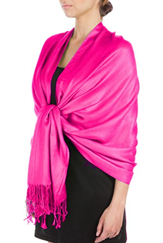 (Sakkas Large Soft Silky Pashmina Shawl Wrap Scarf Stole in Solid Colors - Fuschia)