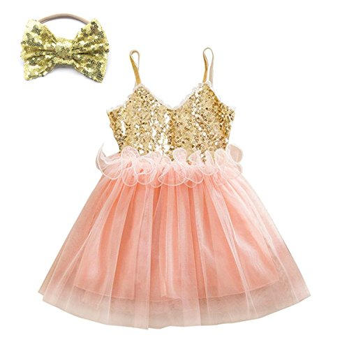 (Elesa Miracle Little Girl Sequins Tulle Slipdress Princess Lace Tutu Dress with Headband Value Set (Pink, 2-3 Years))