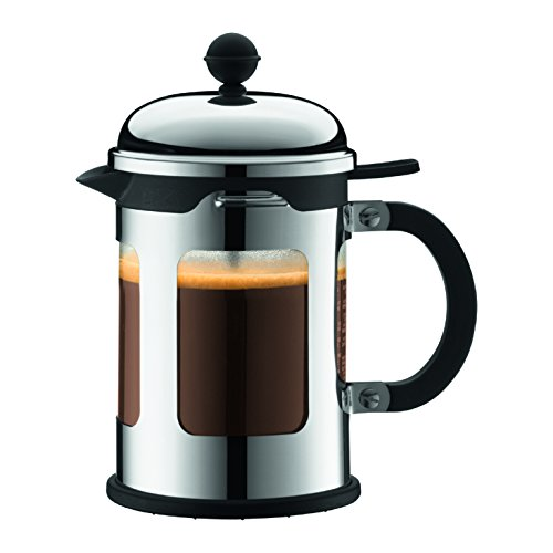 Bodum Chambord 4 Cup French Press Coffee Maker with Locking Lid Stainless Steel, 17-Ounce (Bodum French Press Coffee Maker)