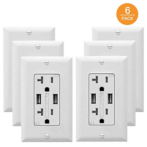 (USB Outlet Receptacle SZICT 4.2A USB Wall Charger Outlet High Speed Charging 20A Tamper Resistant Receptacle UL-Listed 6 Pack White)