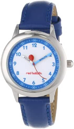 Red Balloon Kids' W000195 Blue Leather Strap Stainless Steel Time Teacher Watch