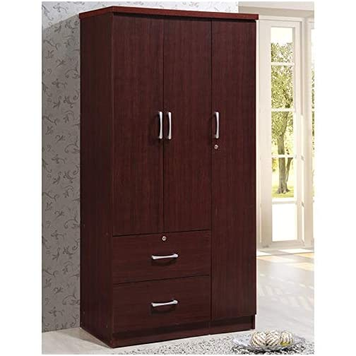 Pemberly Row 3 Door Armoire with 2 Drawer in Mahogany