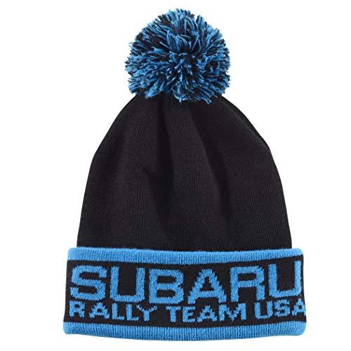 SUBARU Genuine Knit Beanie Rally Team USA Gear Hat Impreza STI WRX Cap New Black with Pom ()