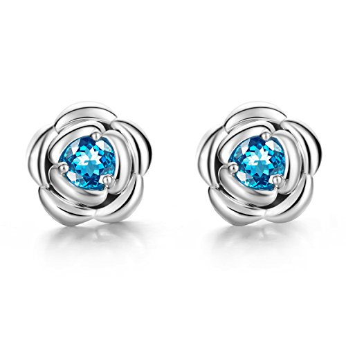 Carleen Sterling Silver Blue Topaz Stud Earrings For Women Rose Flower Earrings for Daily Life, Gifts, Valentine's Day Gifts