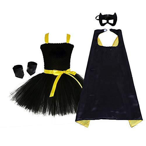Black Superhero Tutu Costume Little Girls Halloween Batgirl Dress Up Costume Set (Black, Large)