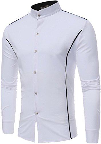 Sportides Long Down Shirts Tops Jza102 Casual Jza118 Button Uomo Check white Sleeve Camicia Plaid ZrqZRHx