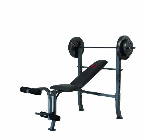 Marcy Diamond Standard Weight Bench with 80 Pound Weight Set and Adjustable Seat for Home Gym 300 Pound Capacity MD-2080