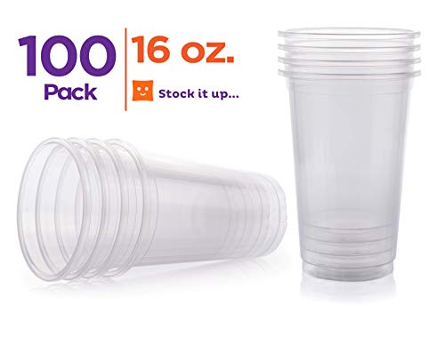 - Stack Man Disposable Plastic-Cups 16 oz. [100 Pack] Ultra Clear PET Cold Drinks, Perfect Use For Party, Beer, Smoothies, Premium Quality,