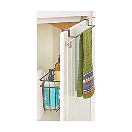 Over Cabinet,Bathroom,Kitchen Door Towel Hanger Bar With Basket,Acts Like A