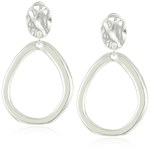 Anne Klein Silver Tone Drop Hoop Clip-on Earrings (Silver Earrings Clip)