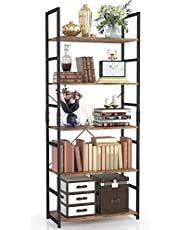 NUMENN 5 Tier Bookshelf, Tall Bookcase Shelf Storage Organizer, Modern Book Shelf for Bedroom, Living Room and Home Office, Vintage