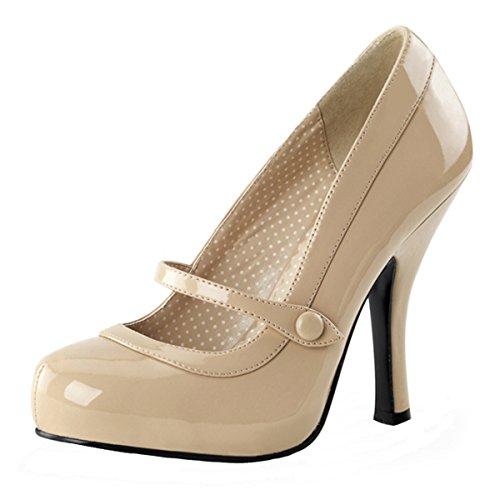 Heels-Perfect - Pantuflas de caña alta de material sintético mujer beige - Beige (Beige)
