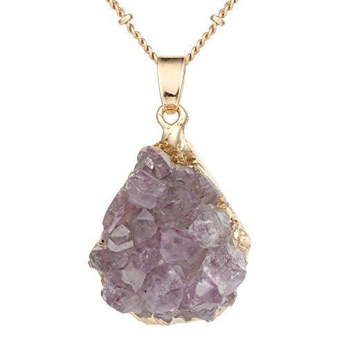 Bonnie Amethyst Irregular Raw Gemstone Quartz Crystal Stone Pendant Necklace 24