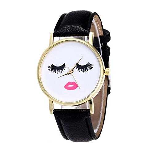 Price comparison product image MINILUJIA Personalized Design Long Eyelashes Makeup Artist Face Watch Vintage Style Black