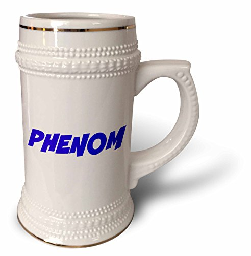 Phenom Players - 3dRose Xander inspirational quotes - Phenom, blue letters on a white background - 22oz Stein Mug (stn_220056_1)