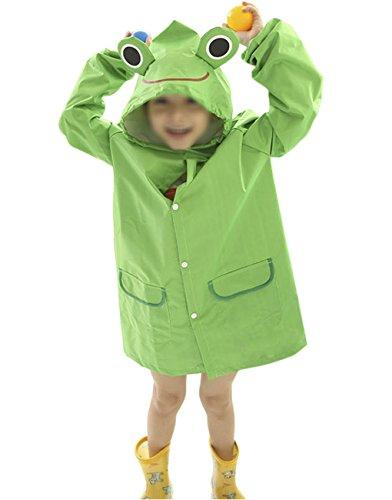 Child Toddler Kids Cute Cartoon Waterproof Hoodie Jacket Raincoat Poncho Suit Rain Coat Cover Rainwear Long Fit for Age (Duck Premium Coat)