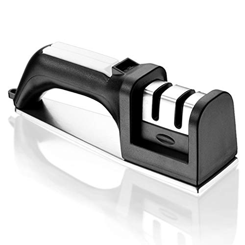 Happy Kitchen Knife Sharpener 2 Stage Manual Diamond Coated Stainless Steel Blade Grinder Kit for Straight and Serrated Knives, Black