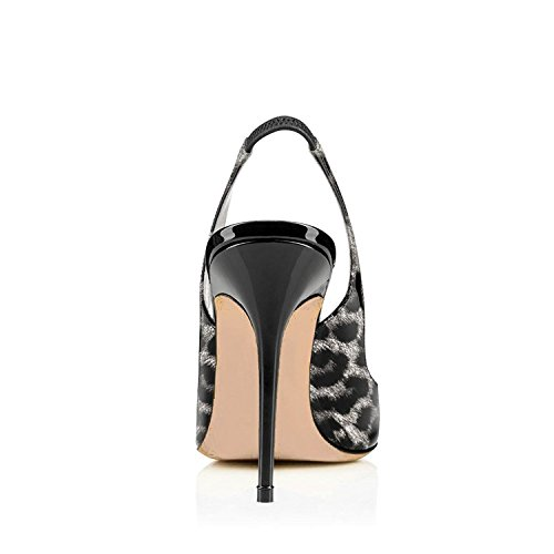 clearance shop for sale 100% authentic YDN Women Round Toe High Heels Pumps Slip on Stiletto Patent Evening Shoes with Slingback Grey-leopard cheap exclusive ost release dates to2ZDX85MN