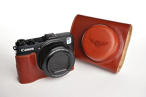 Handmade Genuine real Leather Full Camera Case bag cover for Canon G1X Mark II M2 Brown Color by TP